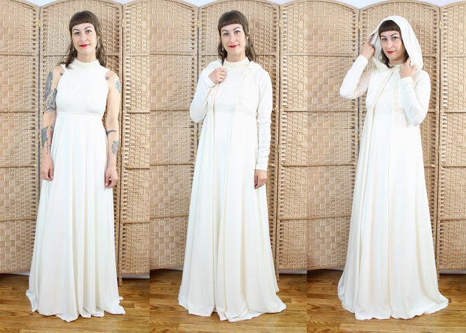 Vintage 70's Cream Maxi Dress with Hooded Jacket / 1970's Hooded Wedding Dress / Women's Size XS by RubyThreadsVintage