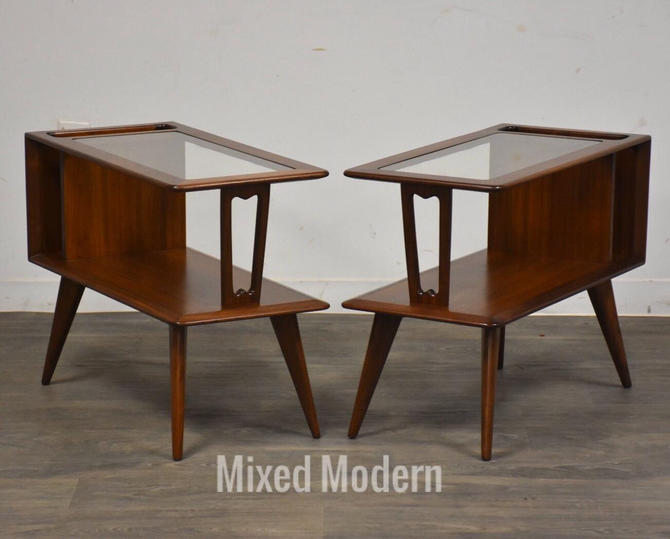Walnut & Glass Magazine Rack End Tables- a Pair by mixedmodern1