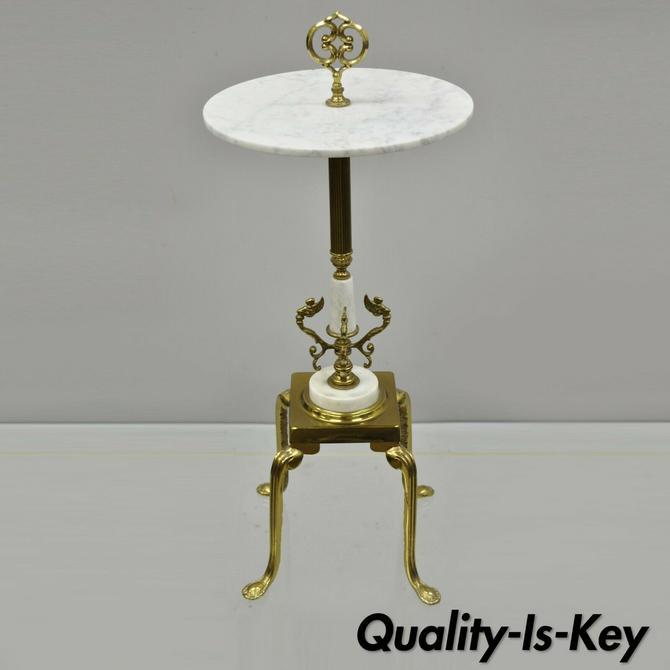 French Victorian Round Marble Top Brass Small Accent Smoking Stand Side Table