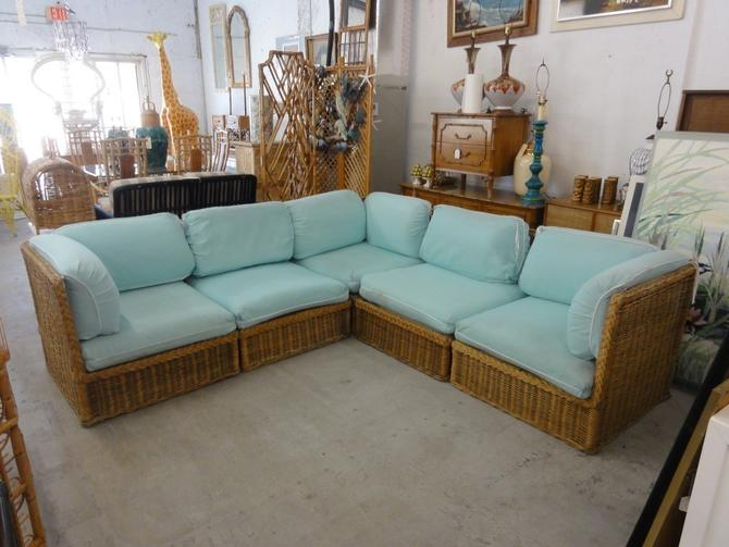 Island Style Braided Rattan 5 Piece Sectional