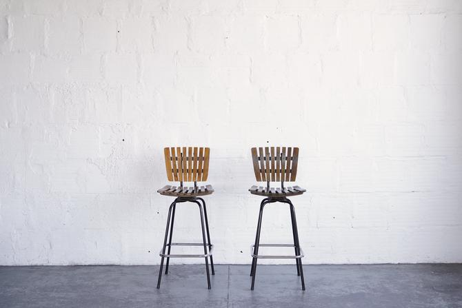 Wood and Metal Stools in the Style of Arthur Umanoff