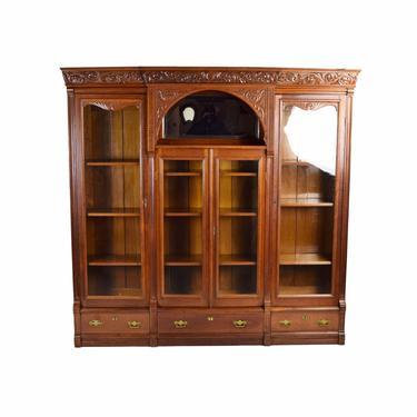 Antique Victorian Renaissance Revival Cherry Bookcase Curio Cabinet by PrairielandArt