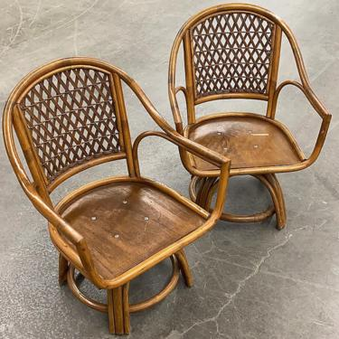 LOCAL PICKUP ONLY ———— Vintage Rattan Swivel Chairs by RetrospectVintage215