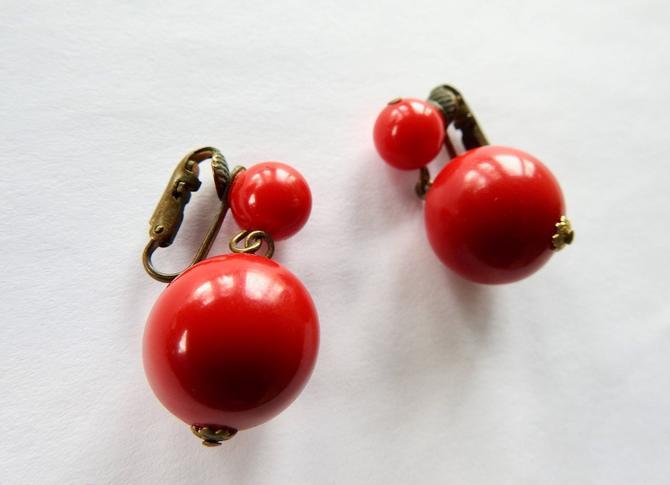 1940s Red Plastic Drop Earrings By Legendarybeast