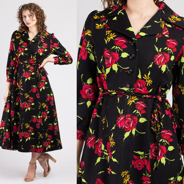 60s Floral Hostess Maxi Dress - Small   Vintage Black Long Sleeve Collared Button Up Dress by FlyingAppleVintage