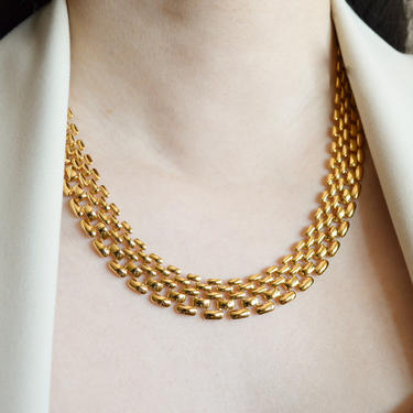 Stella wide gold mesh chain necklace, gold mesh link, gold necklace, chain necklace, gift for her, gold chain mesh link necklace, wide chain by MelangeBlancDesigns