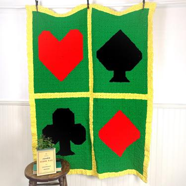 """Hearts, clubs, diamonds and spades crocheted afghan - 47"""" x 60"""" by NextStageVintage"""