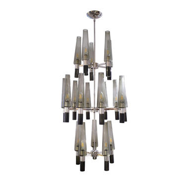 Seguso Exceptional Large Chandelier In Chrome And Smoked Glass Shades 1990s