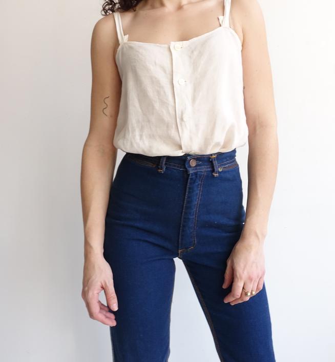 Vintage 70s Dark Wash Denim/ 1970s High Waisted Straight Leg Pinstripe Jeans/ Star Back Pocket/ Size 26 by bottleofbread