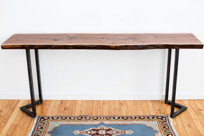 Live Edge Console Table Black Walnut Hallway Furniturewith Industrial Modern Steel Legs Entryway Table Rustic by StocktonHeritage