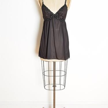 vintage 70s lingerie top LORRAINE black lace camisole cami tank shirt clothing by huncamuncavintage