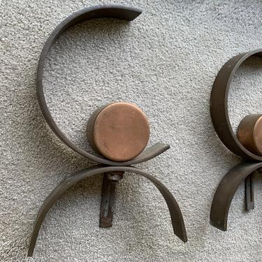 As is: Copper Andirons attributed to Donald Deskey