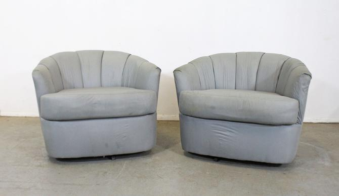 Pair of Mid-Century Danish Modern Milo Baughman for Selig Swivel Club Chairs by AnnexMarketplace