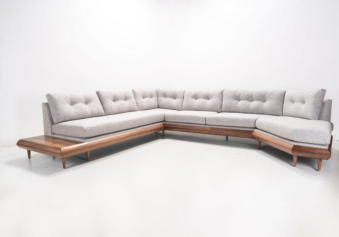 Mid Century Danish Modern Pillowback Sectional With Side and Back Table by TDFurniture