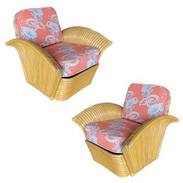 "Restored Pair of ""Golden Girls"" Art Deco Rattan Fan Arm Lounge Chairs by HarveysonBeverly"