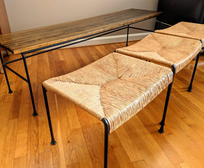 Arthur Umanoff Maple Slot Bench & Nesting Rush Stools for Raymor MID CENTURY by EimModern