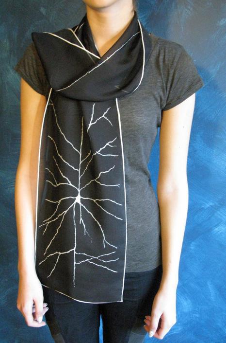 Pyramidal Neuron  Silk Chiffon Scarf - Black by artologica