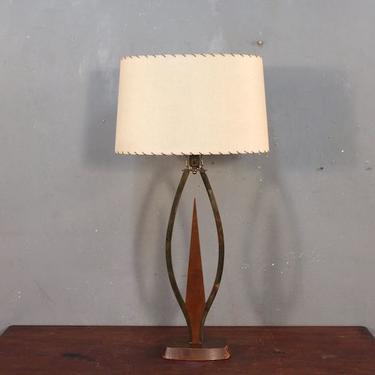 Mid Century Walnut & Brass Table Lamp