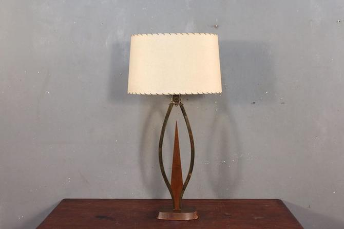 Mid Century Walnut & Brass Table Lamp