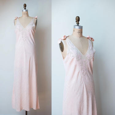 1940s Pale Pink Bias Cut Nightgown / 40s Lace Tie Shoulder Slip Dress by FemaleHysteria