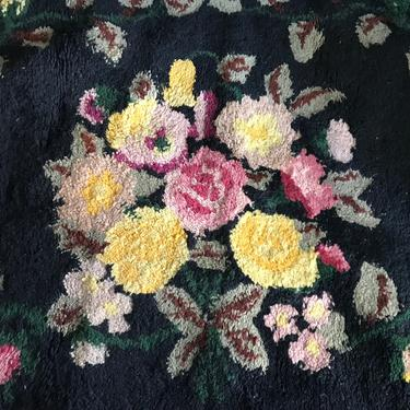 Folk Art Hooked Rug, Artisan Hand Hooked Rug, Floral Roses, Americana, Restoration Project by JansVintageStuff