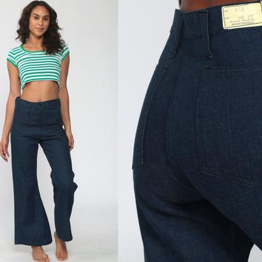 70s Bell Bottoms Jeans High Waisted Jeans 70s Flared Denim Pants Deadstock 1970s Vintage Sailor Jean Dark Blue Jean Seventies Size 6 Small by ShopExile