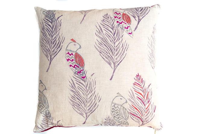 Embroidered Chevron Bird Pillow