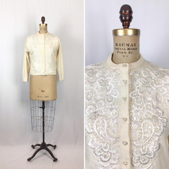 Vintage 50s beaded Cardigan | Vintage ivory wool beaded raffia embroidered Cardigan | 1950's white beaded ivory sweater jumper by BeeandMason