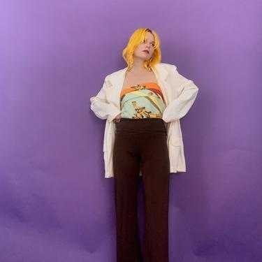 Vintage y2k Brown Stretch Pants by TheMetalRomanticShop