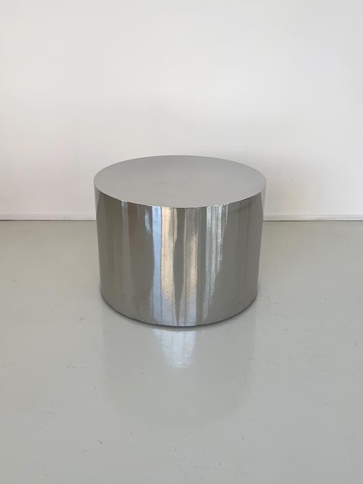 1970s Chrome Drum Side Table