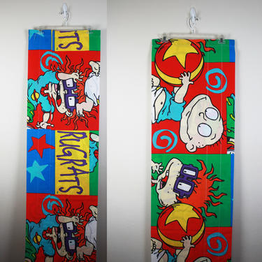 Vintage 1990s Rugrats Nickelodeon Fabric / Curtain by GuavaNectarVintage