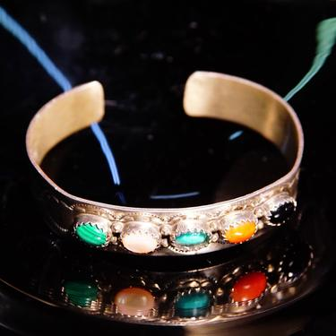 """Vintage Signed S. Skeets Navajo Multi-Stone Hammered Sterling Silver Cuff , Malachite, Mother Of Pearl, Turquoise, Jasper & Onyx, 5 1/2"""" L by shopGoodsVintage"""