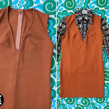 Fun Vintage 60s 70s Butterscotch Brown Jumper Dress by RETMOD