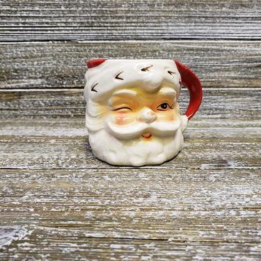 Vintage Winking Santa Claus Mug, 1960s Inarco Japan, Blinking Santa Ceramic Cups, Christmas Coffee Tea Cup, Hot Chocolate, Vintage Christmas by AGoGoVintage