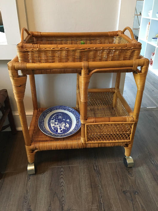 Vintage Rattan Bar Cart Serving Rolling With Removable Tray Boho