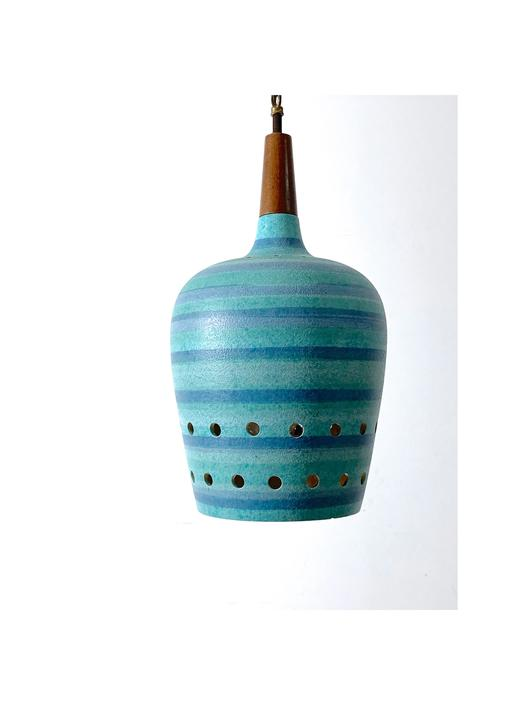 Turqoise Striped Ceramic Pendant Lamp 1960's by 20cModern