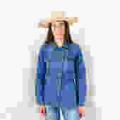 Rumble Seats Denim Top // vintage 70s jean western hippie country blue shirt dress 70s high waist jacket blouse // S/M by FenixVintage