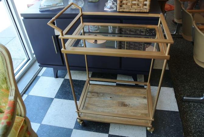 Metal, wood and glass bar cart. $150