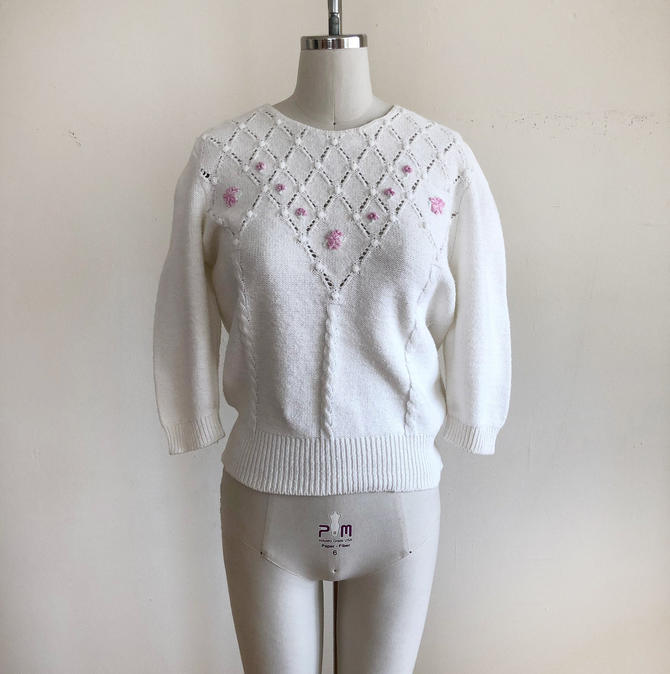 White Sweater with Pink Floral Embroidery and Baubles - 1980s by LogansClothing