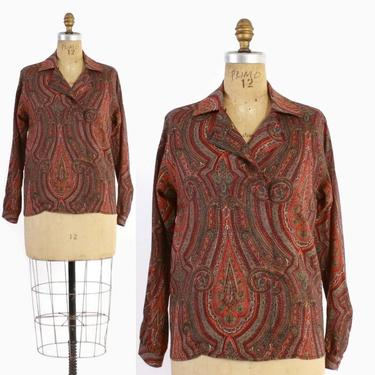 Vintage 80s LIBERTY of London TOP / 1980s Ethnic Paisley Wool Challis Designer Blouse M by LuckyDryGoods