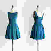 JANUARY   Teal bridesmaid dress with bow. vintage inspired cocktail dress. pleated skirt party dress. retro mod prom homecoming plus size by ShopApricity