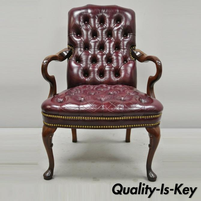 Burgundy Tufted Executive Leather Gooseneck Queen Anne Office Library Arm Chair