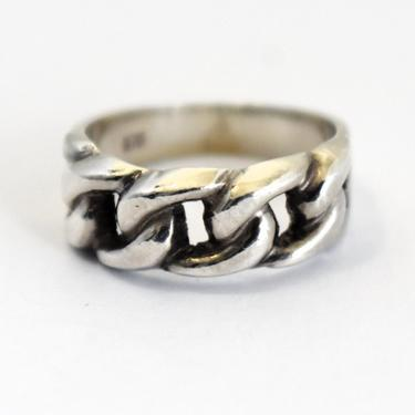 Vintage 970 silver size 7.25 edgy rope link artisan ring, handsome open work fine silver punk rocker band, signed LEON by BetseysBeauties