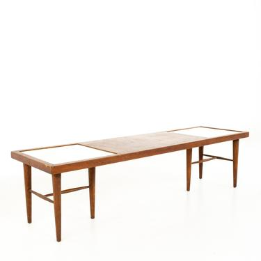 Merton Gershun for American of Martinsville Mid Century X Inlaid Walnut and White Laminate Coffee Table - mcm by ModernHill