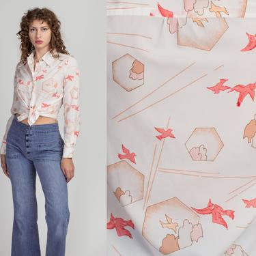 70s Dove Novelty Print Top - Large | Vintage Arpeja Long Sleeve Collared Button Up Shirt by FlyingAppleVintage