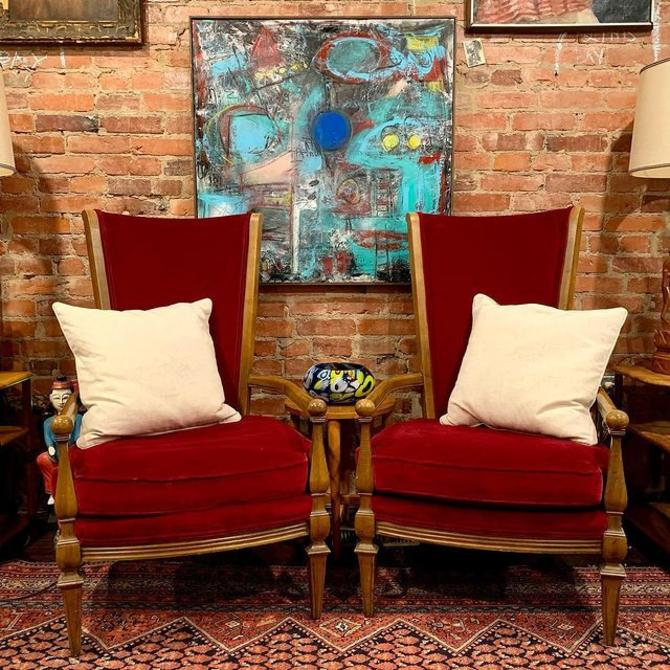 Matching red velvet fireside chairs, colorful abstract (oil on canvas)