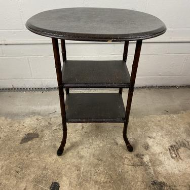 French Lacquered Bamboo End Table