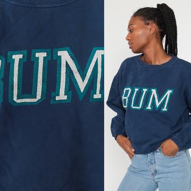 BUM Equipment Sweatshirt 90s Plain Crewneck Streetwear Pullover Blue Jumper 1990s Long Sleeve Shirt Slouchy Vintage Large by ShopExile