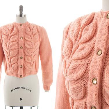 Vintage Cardigan | Leaf Design Knit Pink Acrylic Cropped Sweater Top (medium/large) by BirthdayLifeVintage