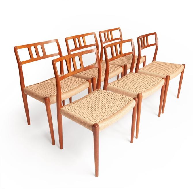 Vintage set of 6 Niels Otto Møller model #79 Teak Dining Chairs by MCMSanFrancisco
